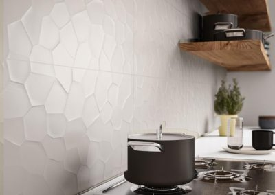 Azulejos blanco en relieve